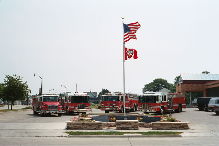 Indianola Firefighters Memorial in front of the Fire Department
