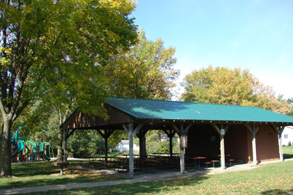 The shelter at McCord park has 9 picnic tables with seating for 72